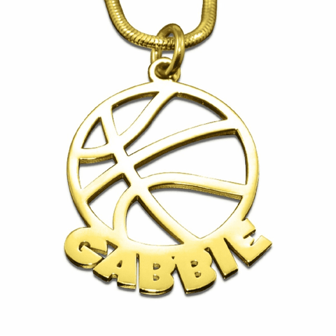 Basketball Name Necklace-Gold- BELLE FEVER Personalised Jewellery