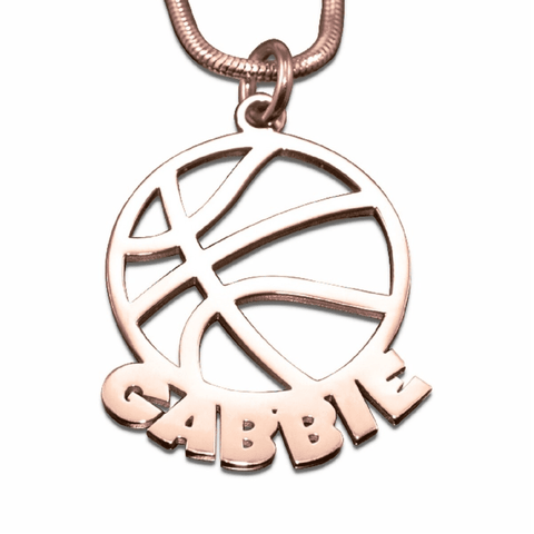 Basketball Name Necklace-Rose Gold- BELLE FEVER Personalised Jewellery