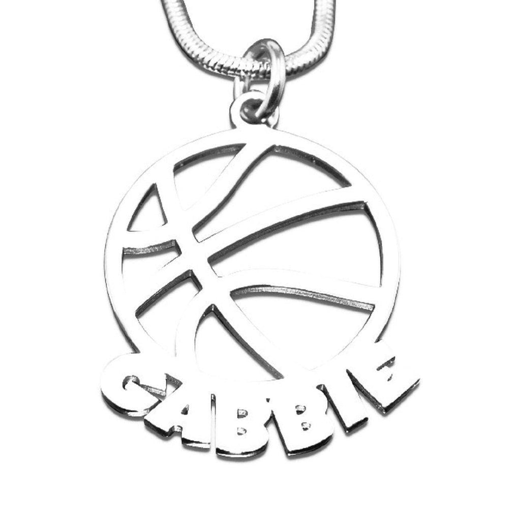 Basketball Name Necklace-Silver- BELLE FEVER Personalised Jewellery