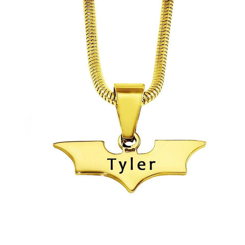 Batman Name Necklace-Gold- BELLE FEVER Personalised Jewellery