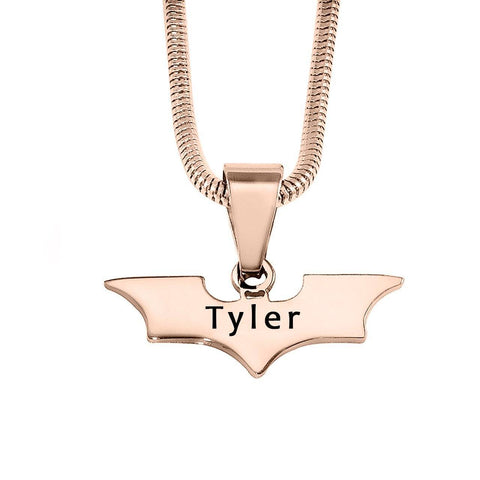 Batman Name Necklace-Rose Gold- BELLE FEVER Personalised Jewellery