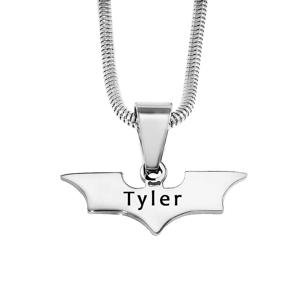 Batman Name Necklace-Silver- BELLE FEVER Personalised Jewellery