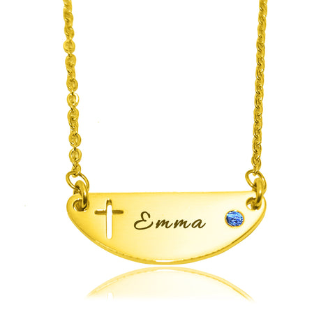 Beck Birthstone Cross Name Necklace-Gold- BELLE FEVER Personalised Jewellery