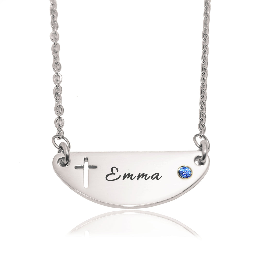 Beck Birthstone Cross Name Necklace-Silver- BELLE FEVER Personalised Jewellery