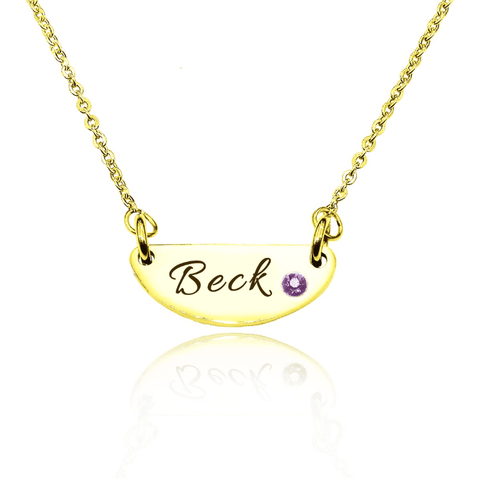 Beck Birthstone Name Necklace-Gold- BELLE FEVER Personalised Jewellery