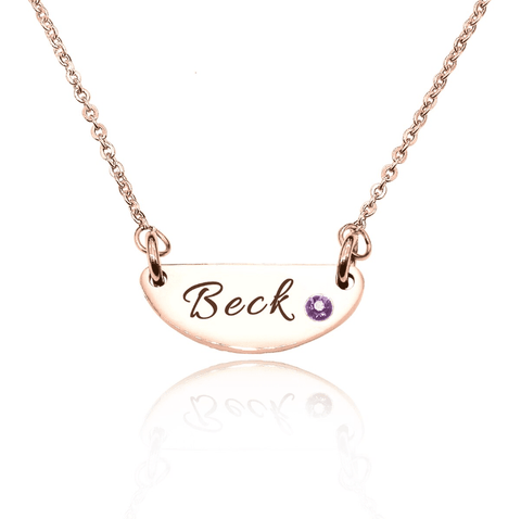 Beck Birthstone Name Necklace-Rose Gold- BELLE FEVER Personalised Jewellery