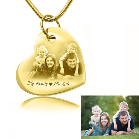 Bottom of My Heart Photo Necklace-Gold- BELLE FEVER Personalised Jewellery