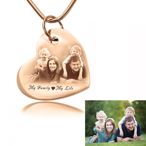 Bottom of My Heart Photo Necklace-Rose Gold- BELLE FEVER Personalised Jewellery