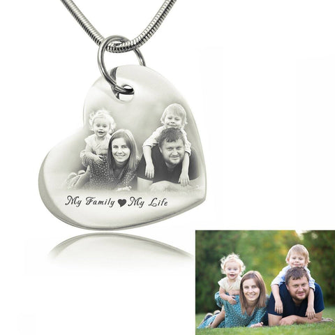 Bottom of My Heart Photo Necklace-Silver- BELLE FEVER Personalised Jewellery