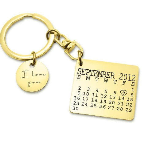 Calendar Keyring with Disc Charm-Gold- BELLE FEVER Personalised Jewellery