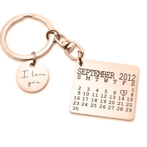 Calendar Keyring with Disc Charm-Rose Gold- BELLE FEVER Personalised Jewellery