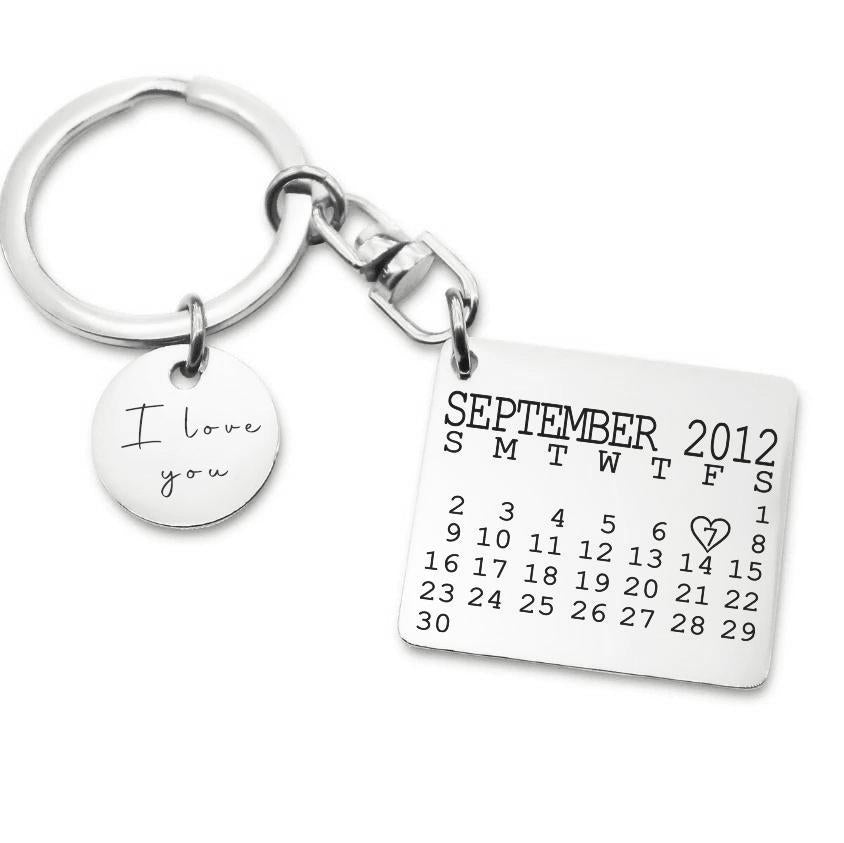 Calendar Keyring with Disc Charm-Silver- BELLE FEVER Personalised Jewellery