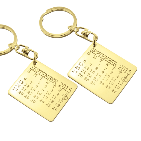 Calendar Keyrings Set of Two-Gold- BELLE FEVER Personalised Jewellery