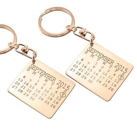 Calendar Keyrings Set of Two-Rose Gold- BELLE FEVER Personalised Jewellery
