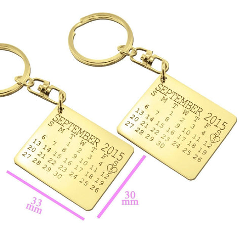Calendar Keyrings Set of Two-Silver- BELLE FEVER Personalised Jewellery