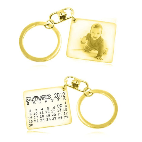 Calendar Photo Keyring-Gold- BELLE FEVER Personalised Jewellery