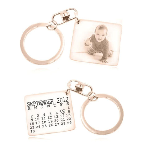 Calendar Photo Keyring-Rose Gold- BELLE FEVER Personalised Jewellery