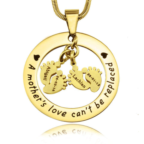 Cant Be Replaced Necklace - Double Feet-Gold- BELLE FEVER Personalised Jewellery