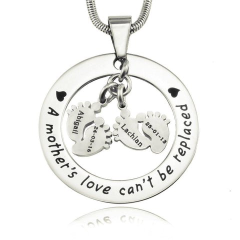 Cant Be Replaced Necklace - Double Feet-Silver- BELLE FEVER Personalised Jewellery