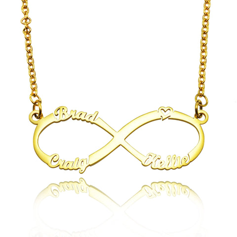 Classic Infinity Name Necklace (Birthstones Optional)-Gold- BELLE FEVER Personalised Jewellery