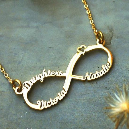 Classic Infinity Name Necklace (Birthstones Optional)-Silver- BELLE FEVER Personalised Jewellery