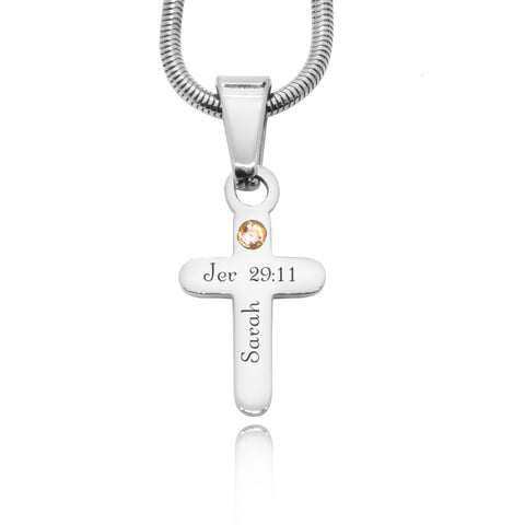 Cross Birthstone Necklace-Silver- BELLE FEVER Personalised Jewellery