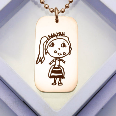Custom Kids Drawing Dog Tag Necklace-Silver- BELLE FEVER Personalised Jewellery