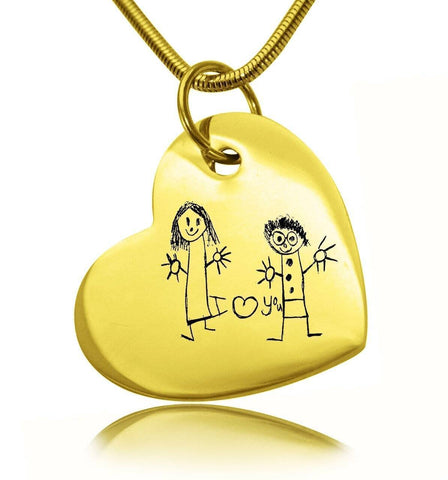 Custom Kids Drawing Heart Necklace-Gold- BELLE FEVER Personalised Jewellery