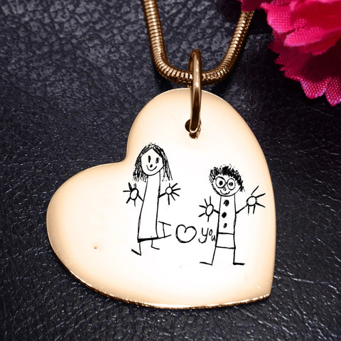 Custom Kids Drawing Heart Necklace-Silver- BELLE FEVER Personalised Jewellery
