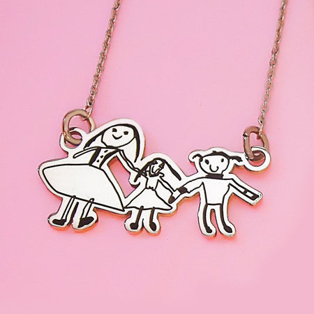 Custom Kids Drawing Necklace-Silver- BELLE FEVER Personalised Jewellery