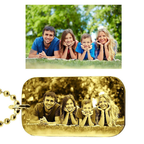 Custom Photo Dog Tag Necklace-Gold- BELLE FEVER Personalised Jewellery
