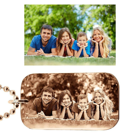 Custom Photo Dog Tag Necklace-Rose Gold- BELLE FEVER Personalised Jewellery