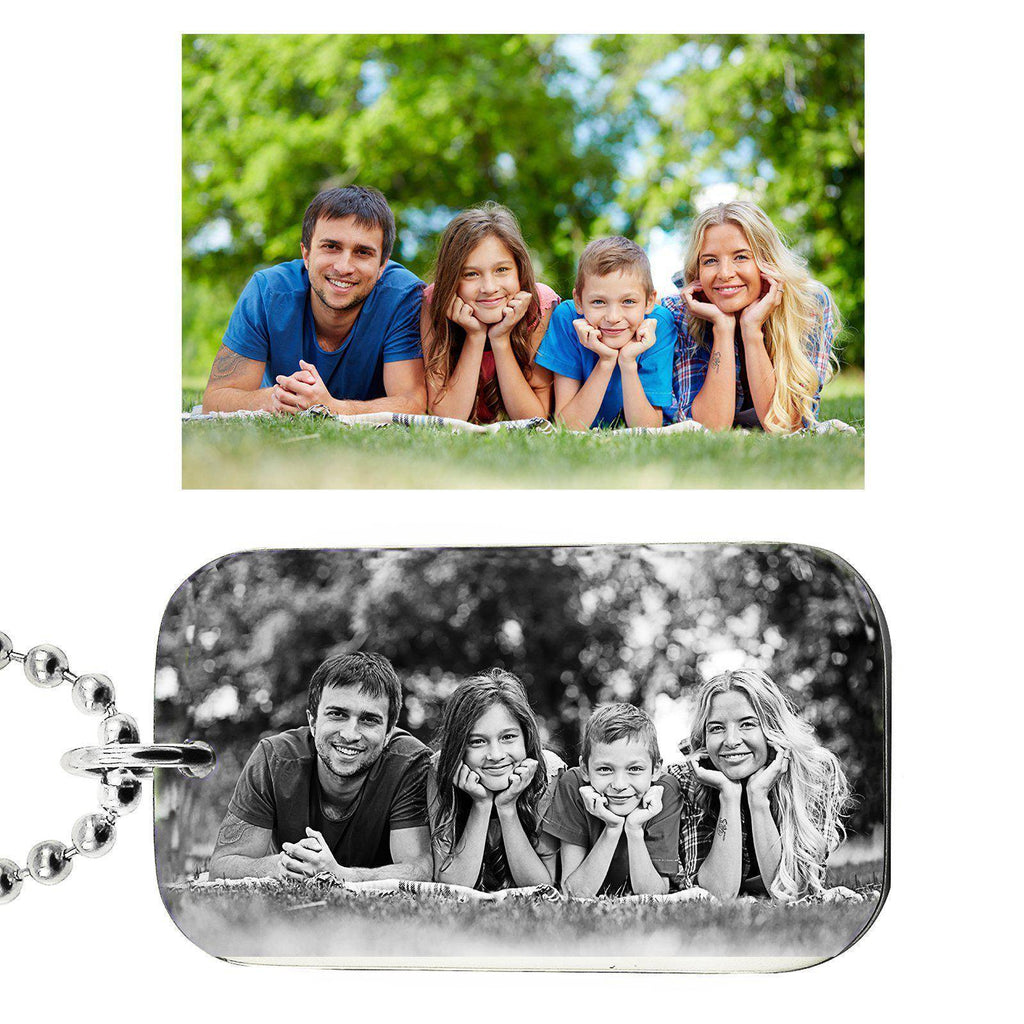 Custom Photo Dog Tag Necklace-Silver- BELLE FEVER Personalised Jewellery