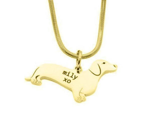 Dachshund Dog Necklace-Gold- BELLE FEVER Personalised Jewellery