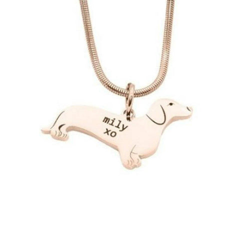 Dachshund Dog Necklace-Rose Gold- BELLE FEVER Personalised Jewellery