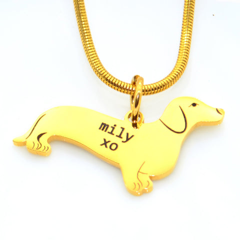 Dachshund Dog Necklace-Silver- BELLE FEVER Personalised Jewellery