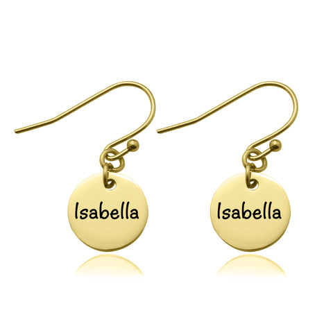 Disc Earrings-Gold- BELLE FEVER Personalised Jewellery
