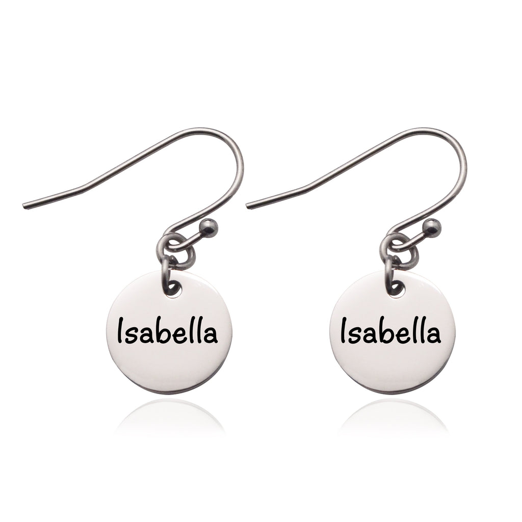 Disc Earrings-Silver- BELLE FEVER Personalised Jewellery
