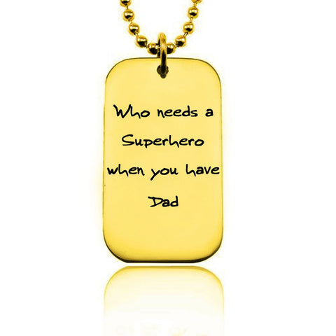 Dog Tag Handwriting Necklace-Gold- BELLE FEVER Personalised Jewellery