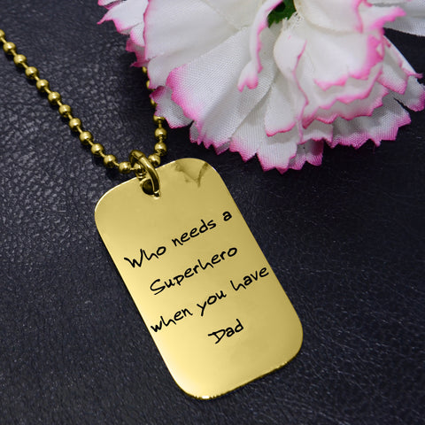 Dog Tag Handwriting Necklace-Silver- BELLE FEVER Personalised Jewellery