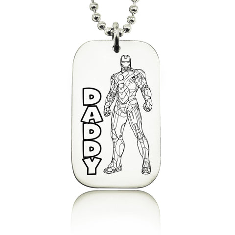 Dog Tag Ironman Necklace-Silver- BELLE FEVER Personalised Jewellery