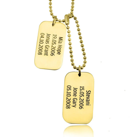 Dog Tag Necklace DOUBLE-Gold- BELLE FEVER Personalised Jewellery