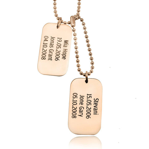 Dog Tag Necklace DOUBLE-Rose Gold- BELLE FEVER Personalised Jewellery