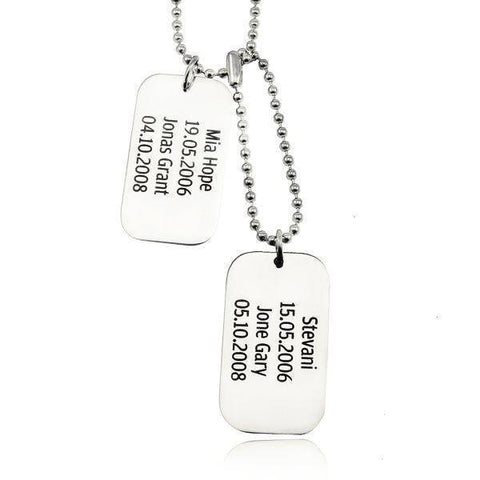 Dog Tag Necklace DOUBLE-Silver- BELLE FEVER Personalised Jewellery