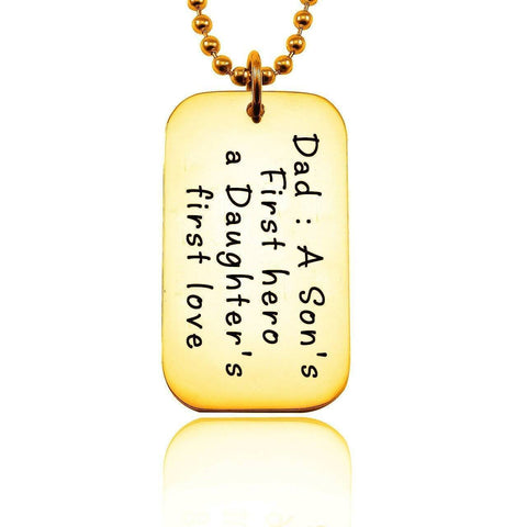 Dog Tag Necklace - First Hero-Gold- BELLE FEVER Personalised Jewellery