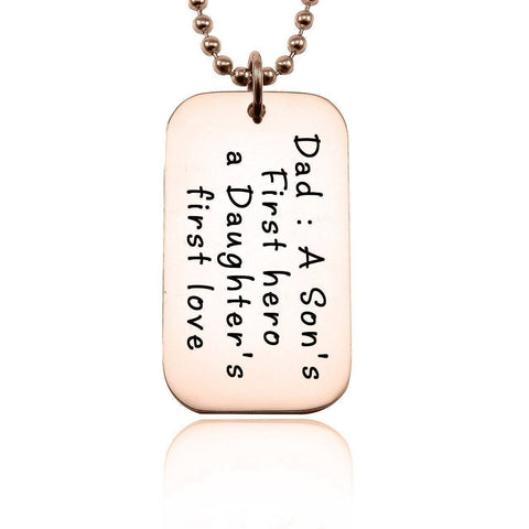 Dog Tag Necklace - First Hero-Rose Gold- BELLE FEVER Personalised Jewellery