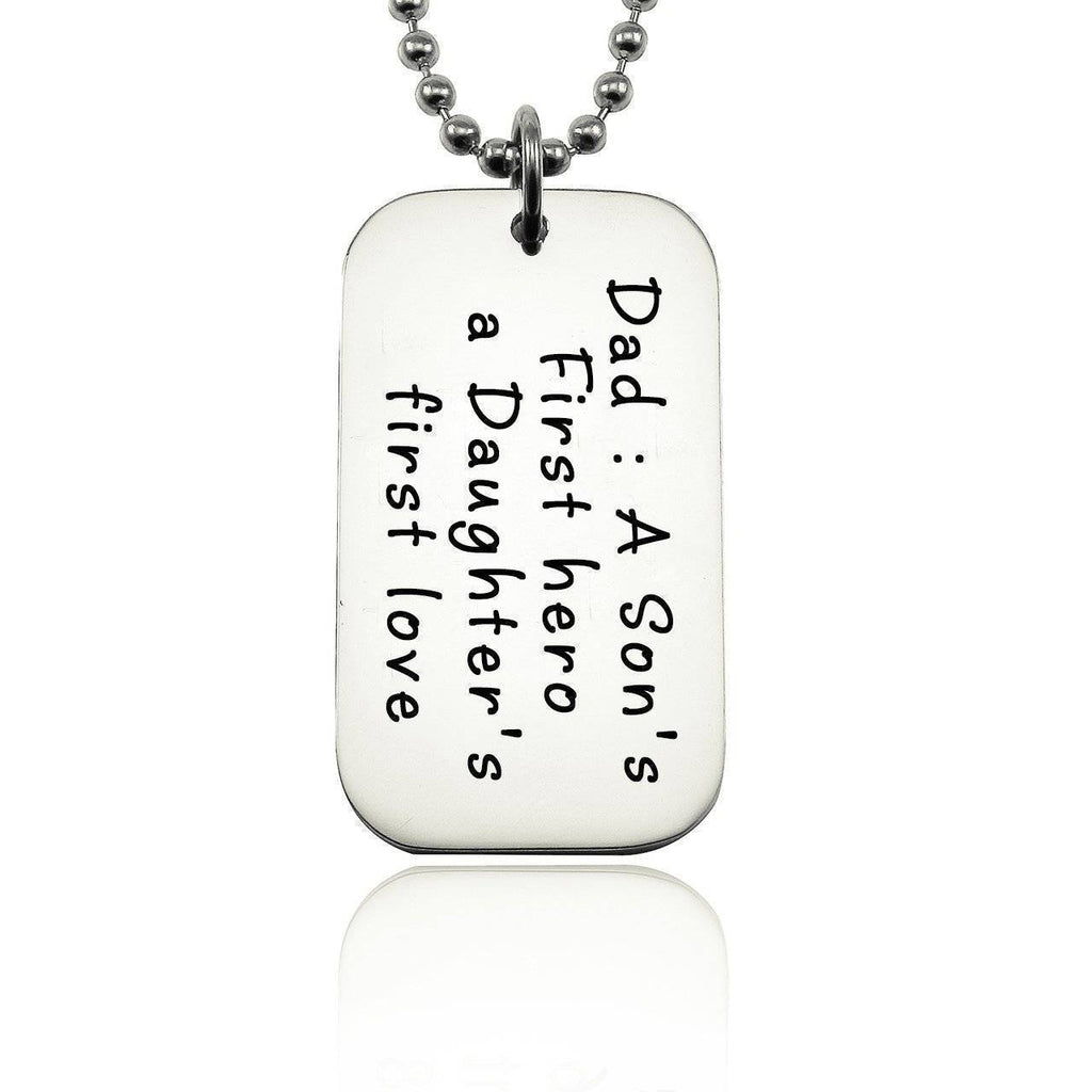 Dog Tag Necklace - First Hero-Silver- BELLE FEVER Personalised Jewellery