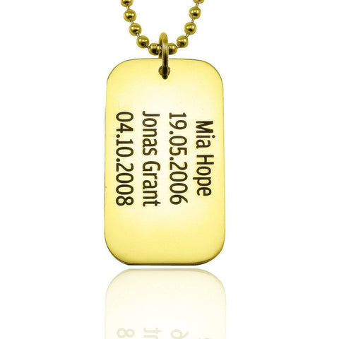 Dog Tag Necklace SINGLE-Gold- BELLE FEVER Personalised Jewellery