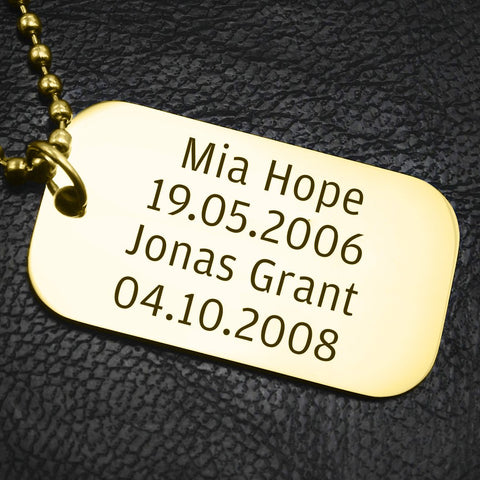 Dog Tag Necklace SINGLE-Silver- BELLE FEVER Personalised Jewellery