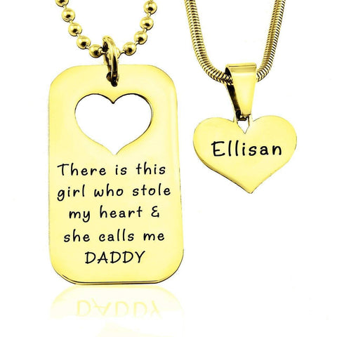 Dog Tag Stolen Heart - Two Necklaces-Gold- BELLE FEVER Personalised Jewellery